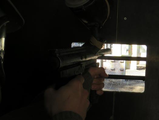 Skirmish Samford Paintball battle bunker defender shooting out the firing the port