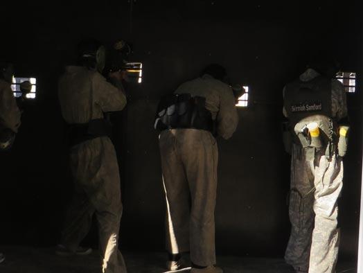 Skirmish Samford Paintball battle bunker defenders shooting out the firing the ports