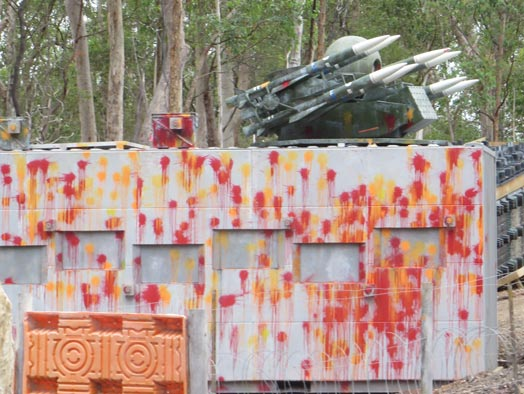 Skirmish Samford Paintball Brisbane battle bunker close up after the battle